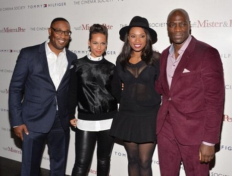 "NEW YORK, NY - OCTOBER 02:  (L-R) George Tillman Jr., Alicia Keys, Jennifer Hudson and Adewale Akinnuoye-Agbaje attend The Cinema Society & Tommy Hilfiger screening of ""The Inevitable Defeat of Mister & Pete"" at Tribeca Grand Screening Room on October 2, 2013 in New York City.  (Photo by Andrew H. Walker/Getty Images)"